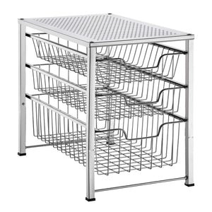 Save on bextsware cabinet basket organizer with 3 tier wire grid sliding drawer multi function stackable mesh storage organizer for kitchen counter desktop bathroom under sinkchrome