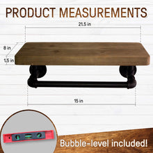 Load image into Gallery viewer, The best industrial pipe shelves with towel rack diy floating wood shelves and metal bracket pipes rustic mounted wall shelf for bathroom kitchen living room bedroom decorative farmhouse shelving units