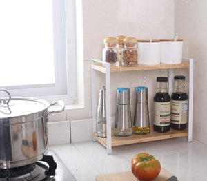 Best seller  garwarm 2 tiers kitchen natural wooden spice rack standing rack kitchen bathroom bedroom countertop storage organizer spice jars bottle shelf holder rack
