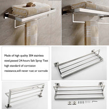 Load image into Gallery viewer, On amazon deluxe 24 inch 304 stainless steel bathroom dual layers towel bar shelves holder chrome polishing mirror polished wall mounted
