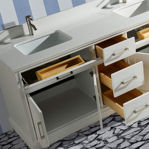 Budget friendly vanity art 72 inch double sink bathroom vanity set super white phoenix stone soft closing doors undermount rectangle sinks with two free mirror va1072 dw
