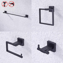 Load image into Gallery viewer, Budget friendly kes sus 304 stainless steel matte black 4 piece bathroom accessory set rustproof towel bar double coat hook toilet paper holder towel ring wall mount no drilling self adhesive glue la24bkdg 42