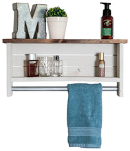 Load image into Gallery viewer, Cheap drakestone designs bathroom shelf with towel bar solid wood wall mount modern farmhouse decor 12 x 24 inch whitewash