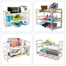 Load image into Gallery viewer, Discover the best obor expandable under sink organizer 2 tier multifunctional storage rack with removable shelves and steel pipes for kitchen bathroom and garden