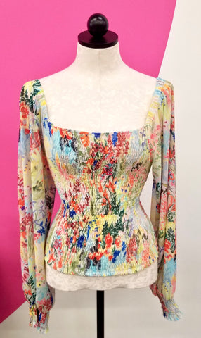 ANTHROPOLOGIE FLORAL SMOCKED TOP - M
