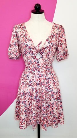 ASOS PINK FLORAL TIE DRESS - M