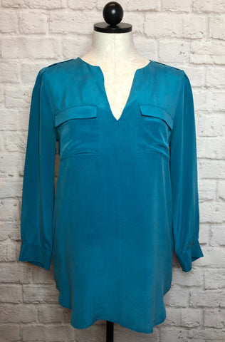 JOIE DELLA SILK BRUSHED TEAL TOP - XS
