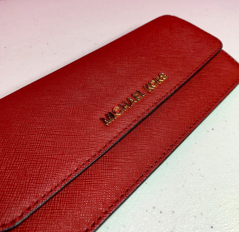 MICHAEL KORS RED FLAT JET SET WALLET