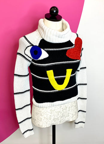"ALICE & OLIVIA ZITA ""EYE HEART U"" SWEATER - XS"