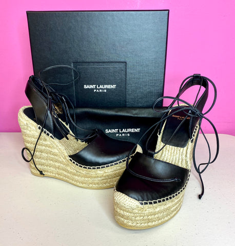 SAINT LAURENT LEATHER WEDGES - 37/7