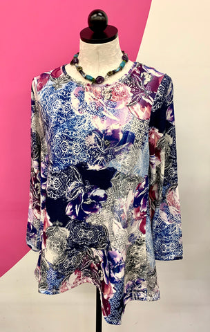 CHICO'S NEW FLORAL PURPLE TUNIC - M/L