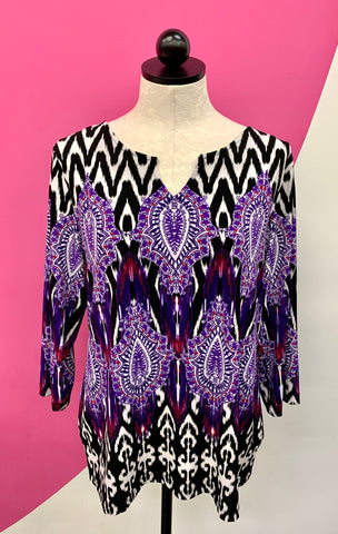 CHICO'S TRAVELERS PURPLE ABSTRACT TUNIC - L