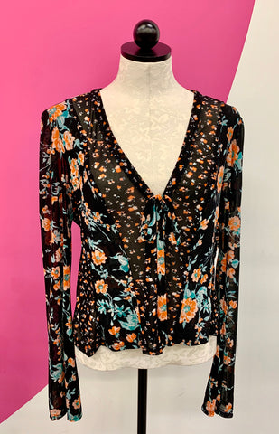 FREE PEOPLE MESH FLORAL TOP - M