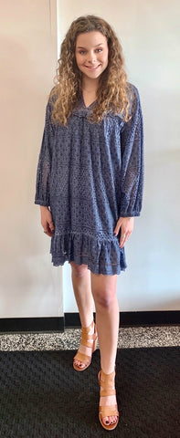 ALLISON NY NEW SLATE EYELET DRESS -M