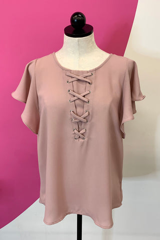 MAURICES ROSE LACE UP TOP - L