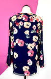 CABI NAVY POPPY FLORAL BLOUSE - S/M