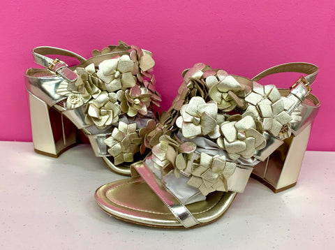 TORY BURCH GOLD BLOSSOM SANDALS - 8.5