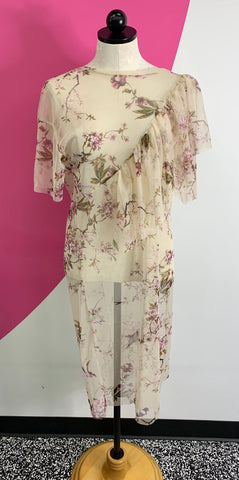 PULL & BEAR SHEER FLORAL RUFFLE DRESS - M