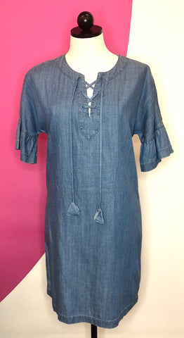 VINEYARD VINES DENIM SHIFT DRESS - XS/S