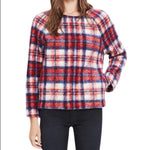 MADEWELL FUZZY PLAID PULLOVER - M