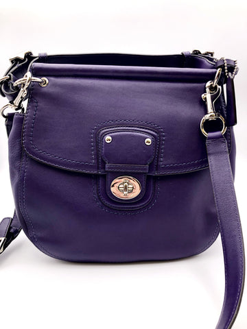 COACH PURPLE WILLIS LEATHER CROSSBODY