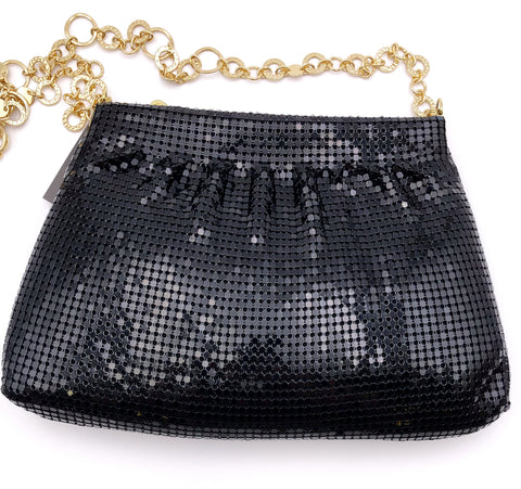 NINE WEST JET BLACK CHAINMAIL PURSE