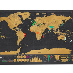 Deluxe Black Scratch Off World Map 42x30cm