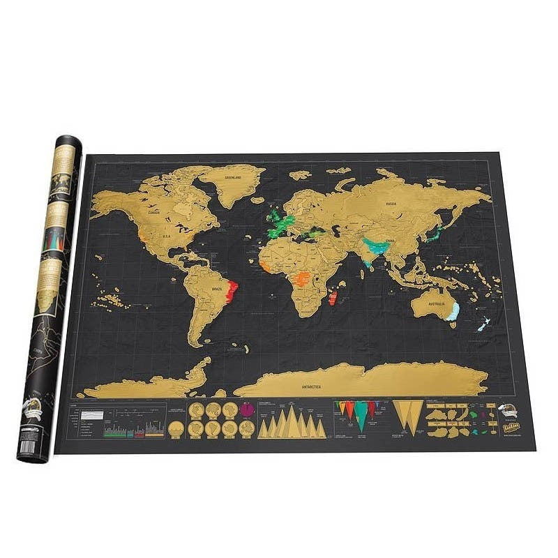 Deluxe Black Scratch Off World Map 82.5x59.4cm