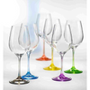 Rainbow Assorted Set of 6 Colored Bohemian Crystal White Wine (4 sets in stock)