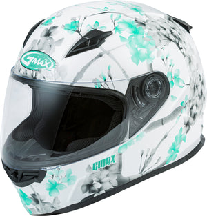 Load image into Gallery viewer, FF-49 FULL-FACE BLOSSOM HELMET MATTE WHITE/TEAL/GREY LG