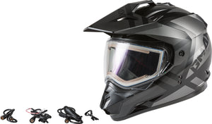 GM-11S TRAPPER SNOW HELMET W/ELEC SHIELD MATTE BLK/GRY MD