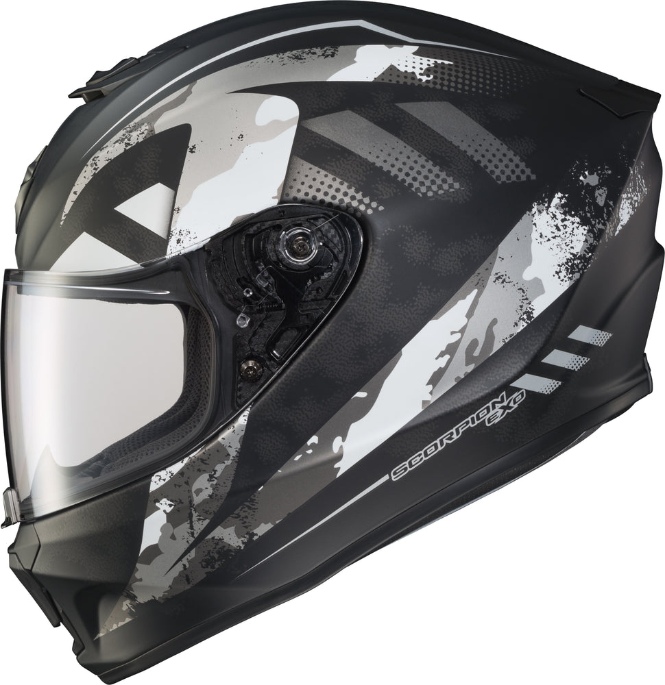 Load image into Gallery viewer, EXO-R420 FULL-FACE HELMET DISTILLER MATTE BLK/SIL SM