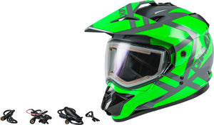 GM-11S TRAPPER SNOW HELMET W/ELEC SHIELD GRY/NEON GRN MD