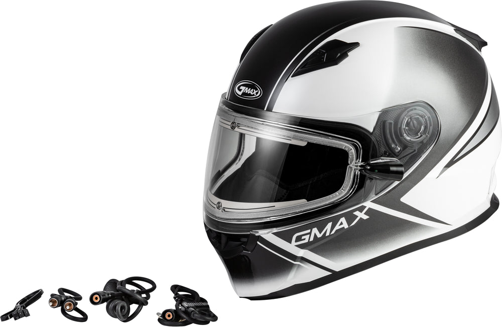 Load image into Gallery viewer, FF-49S HAIL SNOW HELMET W/ELEC SHIELD WHITE/BLACK SM