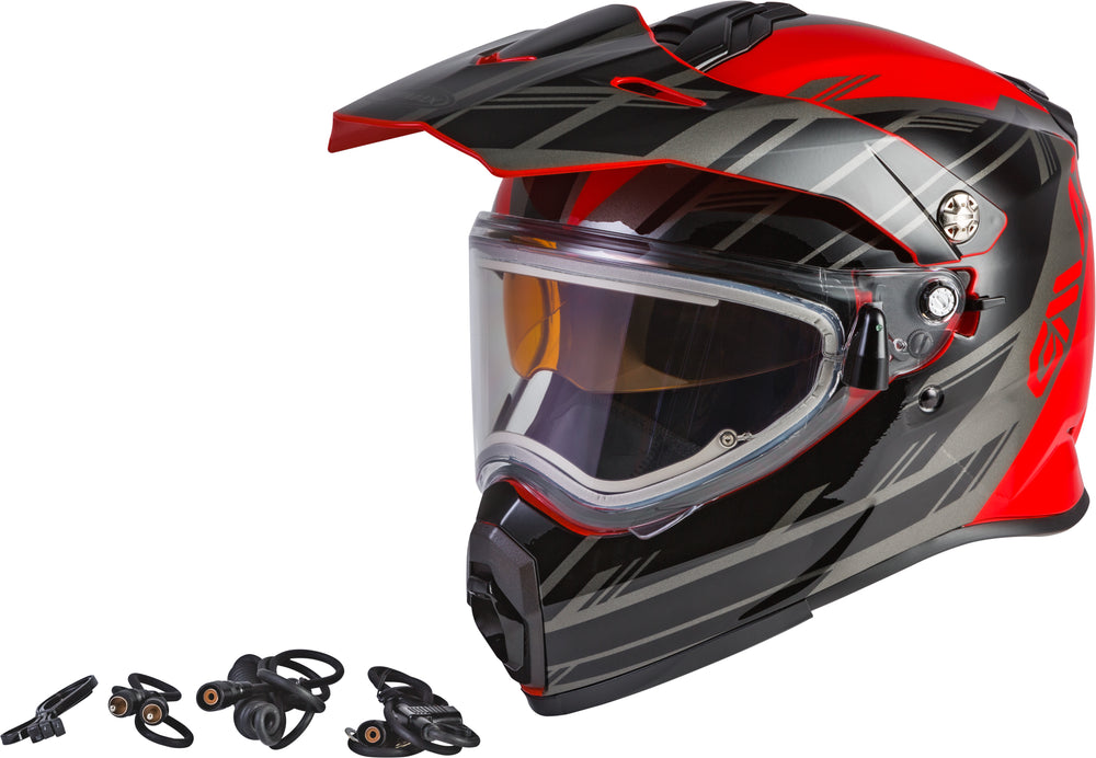 Load image into Gallery viewer, AT-21S EPIC SNOW HELMET W/ELEC SHIELD RED/BLACK/SILVER LG