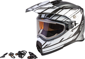 Load image into Gallery viewer, AT-21S EPIC SNOW HELMET W/ELEC SHIELD SILVER/WHITE/BLACK XS