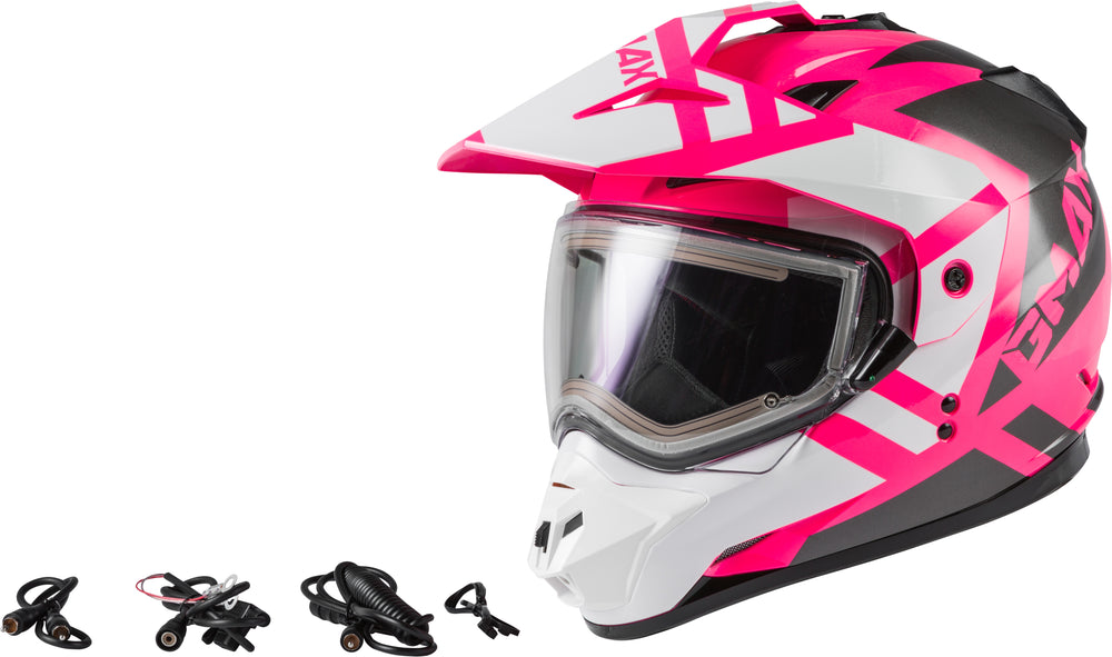 Load image into Gallery viewer, GM-11S TRAPPER SNOW HELMET W/ ELEC SHIELD PINK/WHITE/GREY LG
