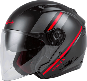 Load image into Gallery viewer, OF-77 OPEN-FACE REFORM HELMET MATTE BLACK/RED/SILVER LG