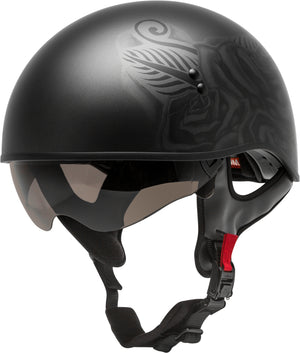 Load image into Gallery viewer, HH-65 HALF HELMET DEVOTION NAKED MATTE BLACK/SILVER MD