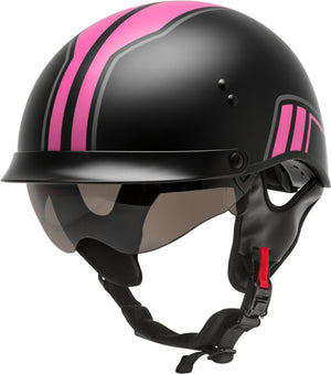 HH-65 HALF HELMET FULL DRESSED TWIN MATTE BLACK/PINK XS