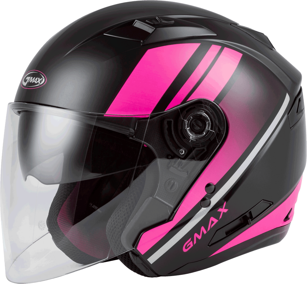 Load image into Gallery viewer, OF-77 OPEN-FACE REFORM HELMET MATTE BLACK/PINK/SILVER XS