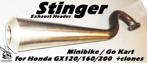 Mini Bike Stinger Exhaust Header for Honda GX160 / GX200 and clones