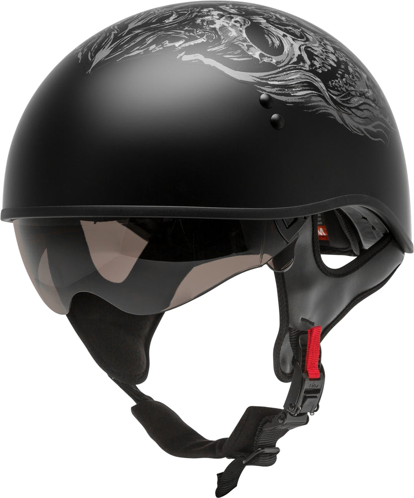 Load image into Gallery viewer, HH-65 HALF HELMET GHOST/RIP NAKED MATTE BLACK/SILVER 2X