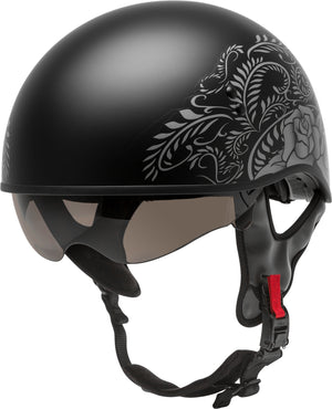 HH-65 HALF HELMET ROSE NAKED MATTE BLACK/SILVER MD