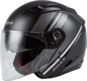 Load image into Gallery viewer, OF-77 OPEN-FACE REFORM HELMET MATTE BLACK/SILVER SM