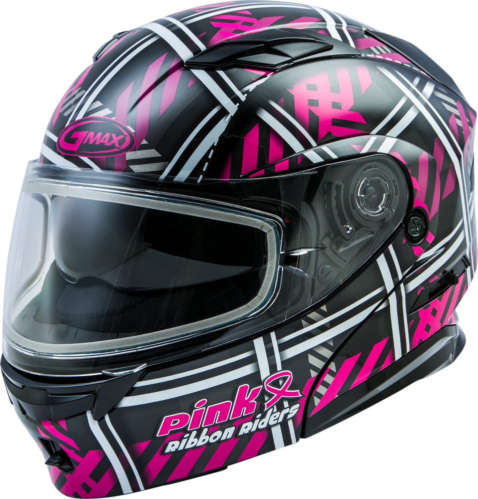 Load image into Gallery viewer, MD-01S MODULAR PINK RIBBON RIDERS SNOW HELMET BLK/PINK LG