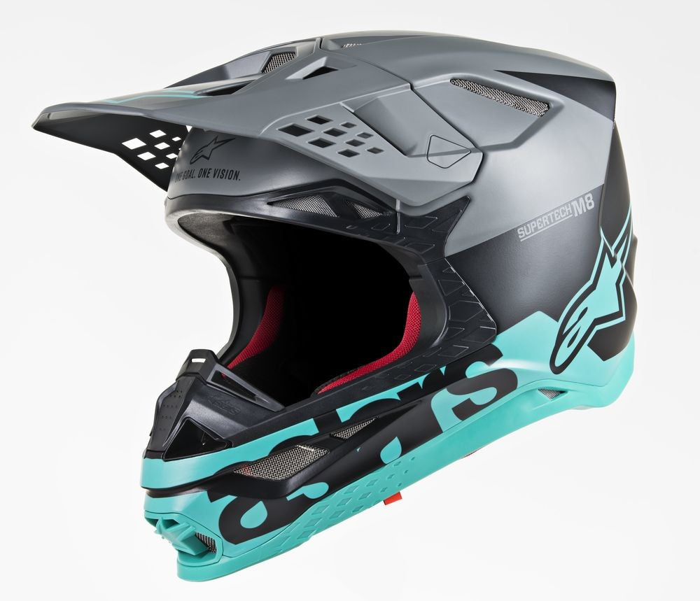 Load image into Gallery viewer, S.TECH S-M8 RADIUM HELMET BLACK/GREY/TEAL XL