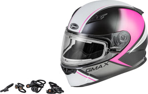 Load image into Gallery viewer, FF-49S HAIL SNOW HELMET W/ELEC SHIELD MATTE BLK/PINK/WHITE XS