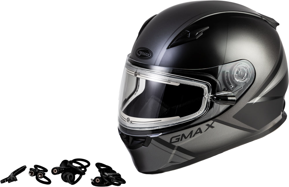 Load image into Gallery viewer, FF-49S HAIL SNOW HELMET W/ELEC SHIELD MATTE BLACK/GREY MD