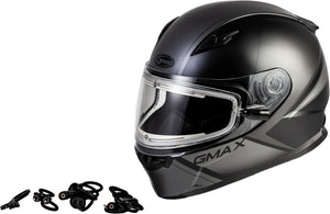 Load image into Gallery viewer, FF-49S HAIL SNOW HELMET W/ELEC SHIELD MATTE BLACK/GREY SM